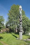 USA, Alaska, frog totem in Wrangelss' totem park.