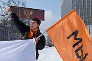 """Moscow, Russia, 18/02/2006..Roman Dobrokhotov, political activist and organiser of the anti-Putin youth movement """"We"""" at a demonstration against  against Belarussian President Alexander Lukasheno outside the Russian Foreign Ministry."""