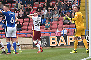 Bradford City midfielder Mathew Lund (30)  misses during the EFL Sky Bet League 1 match between Rochdale and Bradford City at Spotland, Rochdale, England on 21 April 2018. Picture by Mark Pollitt.