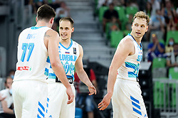 Luka Doncic, Klemen Prepelic and Jaka Blazic of Slovenia during friendly basketball match between National teams of Slovenia and Croatia, on June 18, 2021 in Arena Stozice, Ljubljana, Slovenia. Photo by Vid Ponikvar / Sportida