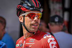 July 28, 2018 - Les Bons Villers, BELGIUM - Belgian Jens Debusschere of Lotto Soudal pictured ahead of the first stage of the Tour De Wallonie cycling race, 193,4 km from La Louviere to Les Bons Villers, on Saturday 28 July 2018. BELGA PHOTO LUC CLAESSEN (Credit Image: © Luc Claessen/Belga via ZUMA Press)