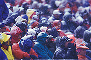 Fans at snowy football game.