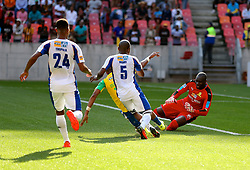 Save by keeper Denis Onyango of Mamelodi Sundowns during the 1st leg of the MTN8 Semi Final between Chippa United and Mamelodi Sundowns held at the Nelson Mandela Bay Stadium in Port Elizabeth, South Africa on the 11th September 2016<br /><br />Photo by: Richard Huggard / Real Time Images