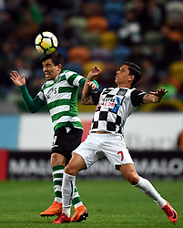 LISBON, April 23, 2018  Marcos Acuna (L) of Sporting vies with Renato Santos of Boavista during Portuguese League soccer match between Sporting CP and Boavista FC in Lisbon, Portugal, on April 22, 2018. Sporting won 1-0.  wll) (Credit Image: © Zhang Liyun/Xinhua via ZUMA Wire)