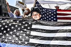 Trump supporters wave National Flags at Foley Sq in Manhattan, NY on Saturday June 10, 2017<br /> <br /> 6/10/2017<br /> Manhattan, NY<br /> <br /> Go Nakamura/ZUMA Press