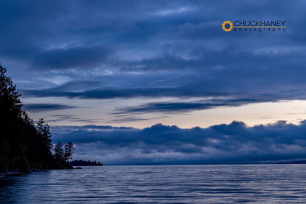 Dawn over Flathead Lake from Westside State Park near Rollins, Montana, USA