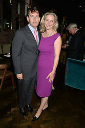 AMANDA FOREMAN and her husband JONATHAN BARTON at a dinner hosted by Lucy Yeomans and Amanada Foreman to celebrate the launch of the film Georgiana, Duchess of Devonshire held at sackville's, Sackville Street, London on 7th September 2015.