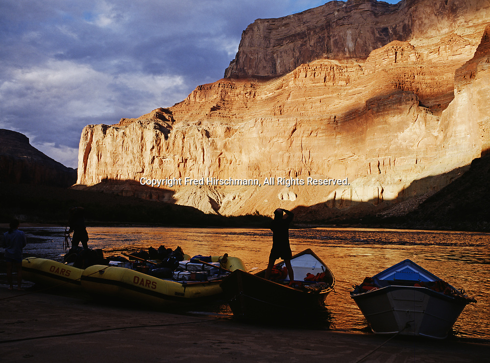 Unlolading rafts and dories at Nankoweap on the Colorado River in Marble Canyon, Grand Canyon National Park and Navajo Reservation, Arizona.