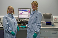 Word: CHARACTER<br /> <br /> Caption: Research scientists Suzi Adams and Sally Grimshaw running a quantitative polymerase chain reaction (qPCR) test looking at the bacterial DNA of saliva samples.<br /> <br /> The image is taken from a project entitled 'The Proof Principle' by photographer Colin McPherson, which was commissioned in 2011 by Unilever to celebrate 100 years of work at the company's research and development facility at Port Sunlight, Wirral.<br /> <br /> All images © Colin McPherson, all rights reserved.