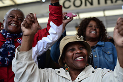 November 2, 2018 - Macon, Georgia, US - Followers cheer to Georgia candidate for governor Stacey Abrams during a get-out-the-vote rally in Macon Friday. The state's race for governor is one of the most high-profile elections taking place Tuesday, with Abrams, aiming to become the nation's first black woman governor, statistically tied in polls with the Trump-endorsed Republican, Brian Kemp. (Credit Image: © Miguel Juarez Lugo/ZUMA Wire)