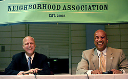 May 10th, 2006. New Orleans, Louisiana. New Orleans Mayor Ray C Nagin debates his challenger, Louisiana lieutenant governor Mitch Landrieu at the Audubon Institute Riverside association at the Sabis Academy Charter school in Uptown New Orleans. The candidates enjoy a lighter moment.<br /> Photo; Charlie Varley/varleypix.com