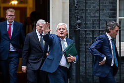 © Licensed to London News Pictures. 04/06/2018. London, UK. From left: Director General of the Institute of Directors Stephen Martin, Chairman of BAE Systems Sir Roger Carr, President of the CBI Paul Drechsler and BT Chief Executive Gavin Patterson leave 10 Downing Street after a meeting of business leaders with Prime Minister Theresa May, The Chancellor of The Exchequer Philip Hammond, Secretary of State for International Trade Liam Fox and Secretary of State for Exiting the European Union David Davis. Photo credit: Rob Pinney/LNP