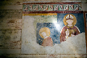Detail of early frescos in the Duomo, Verona, Italy