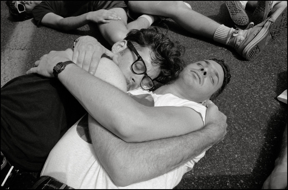 Jack Ben-Levi and Michael Marco participate in a die-in during the Gay Pride Parade in New York City in June, 1990.