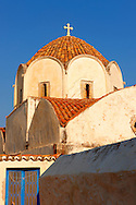 Byzantine Greek Orthodox Church dome, Hydra,  Greek Saronic Islands .<br /> <br /> Visit our GREEK HISTORIC PLACES PHOTO COLLECTIONS for more photos to download or buy as wall art prints https://funkystock.photoshelter.com/gallery-collection/Pictures-Images-of-Greece-Photos-of-Greek-Historic-Landmark-Sites/C0000w6e8OkknEb8