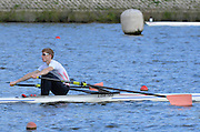 Reading. United Kingdom.  GBR LM1X, Jonathan CLEGG, in the opening strokes of the morning time trial. 2014 Senior GB Rowing Trails, Redgrave and Pinsent Rowing Lake. Caversham.<br /> <br /> 10:13:52  Saturday  19/04/2014<br /> <br />  [Mandatory Credit: Peter Spurrier/Intersport<br /> Images]