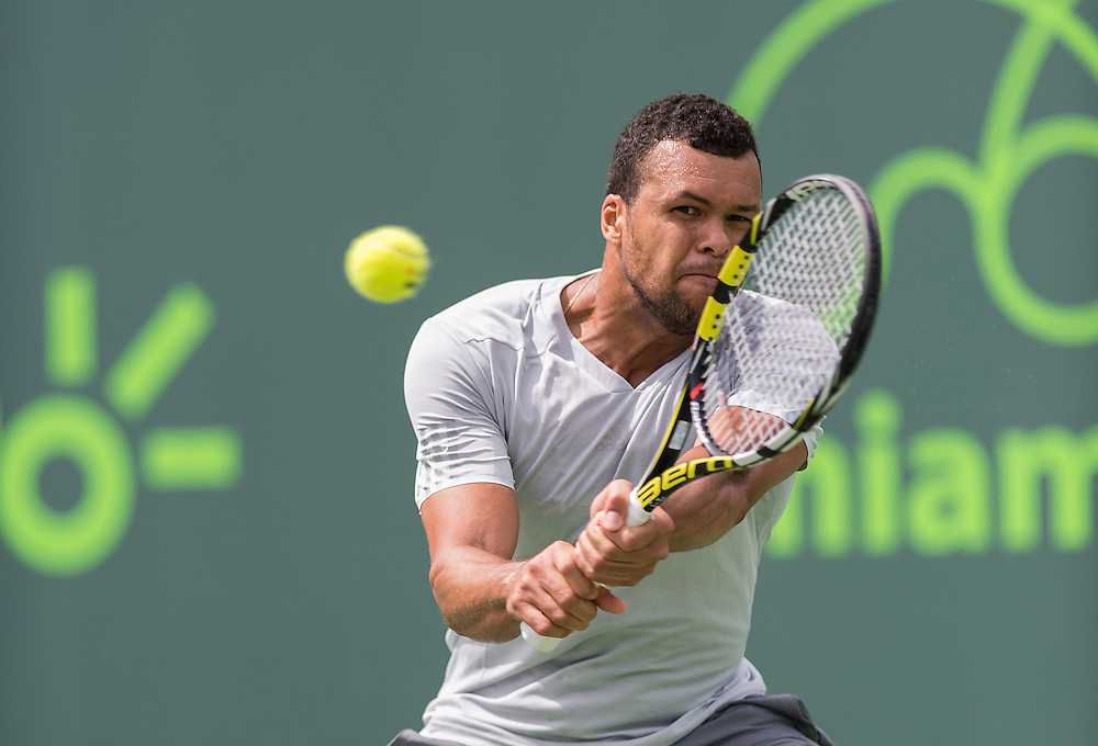 KEY BISCAYNE, FL - March 28: Jo-Wilfried Tsonga (FRA) in action here defeats Tim Smyczek (USA) 64 36 63 at the 2015 Miami Open in Crandon Park Tennis Center.  Photographer Andrew Patron - CameraSport/BigShots<br /> <br /> Tennis - 2015 Miami Open presented by Itau - Crandon Park Tennis Center - Key Biscayne, Florida - USA - Day 6, Saturday 28th March 2015<br /> <br /> © CameraSport - 43 Linden Ave. Countesthorpe. Leicester. England. LE8 5PG - Tel: +44 (0) 116 277 4147 - admin@camerasport.com - www.camerasport.com
