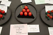 Harrogate Flower Show, North Yorkshire, England, UK. Part of the horticultural show is dedicated to the vegetable competition, where perfest specimens of all sorts of fruit and veg compete against each other.