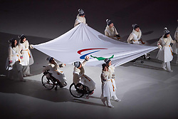 March 9, 2018 - Pyeongchang, South Korea - Athletes carry the Paralympic Flag into Opening Ceremony for the 2018 Pyeongchang Winter Paralympic Games March 9, 2018. Photo by Mark Reis (Credit Image: © Mark Reis via ZUMA Wire)