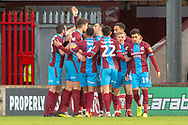 Scunthorpe United celebrate as Scunthorpe United forward Kyle Wootton (29) scores a goal to take the lead 1-0 during the EFL Sky Bet League 1 match between Scunthorpe United and Wycombe Wanderers at Glanford Park, Scunthorpe, England on 29 December 2018.