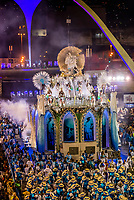 Floats in the Carnaval parade of Unidos de Vila Isabel samba school in the Sambadrome, Rio de Janeiro, Brazil.