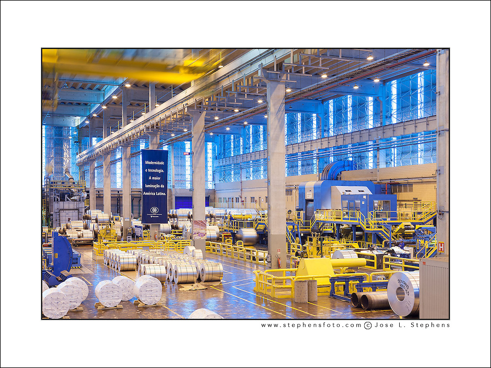 Inside view of an aluminum production factory plant near Sao Paulo in Brazil