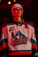 KELOWNA, BC - FEBRUARY 15: Dillon Hamaliuk #22 of the Kelowna Rockets lines up against the Red Deer Rebels at Prospera Place on February 15, 2020 in Kelowna, Canada. (Photo by Marissa Baecker/Shoot the Breeze)