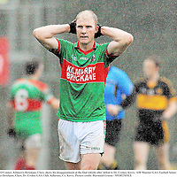 20 November 2011; Paul O'Connor, Kilmurry-Ibrickane, Clare, shows his disappointment at the final whistle after defeat to Dr. Crokes, Kerry. AIB Munster GAA Football Senior Club Championship Semi-Final, Dr. Crokes, Kerry v Kilmurry-Ibrickane, Clare, Dr. Crokes GAA Club, Killarney, Co. Kerry. Picture credit: Diarmuid Greene / SPORTSFILE