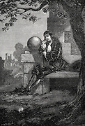 Isaac Newton (1642-1727) English scientist & mathematician. Artist's impression of Newton in the orchard at Woolsthorpe when an apple fell and set him thinking about gravity. Wood engraving c1880.