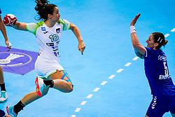06-12-2019 JAP: Serbia - Slovenia, Kumamoto<br /> last match groep A at 24th IHF Women's Handball World Championship. / Tjasa Stanko #10 of Slovenia, Jelena Trifunovic #5 of Serbia
