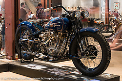 """Matt Olsen's """"One of One"""" (owned by Mike Detwiler) completely handbuilt custom Harley-Davidson on Saturday at the Handbuilt Motorcycle Show. Austin, TX. April 11, 2015.  Photography ©2015 Michael Lichter."""