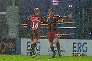22 Marcus Fraser celebrates his goal during the Scottish Premiership match between Ross County FC and St Mirren FC at the Global Energy Stadium, Dingwall, Scotland on 26 December 2020