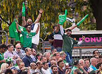 EDINBURGH, SCOTLAND - JUNE 12: Pakistan fans in full voice during the International T20 Friendly match between Scotland and Pakistan at the Grange Cricket Club on June 12, 2018 in Edinburgh, Scotland. (Photo by MB Media/Getty Images)