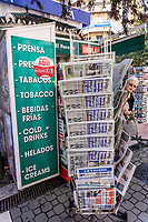 British & most foreign newspapers are widely available in Spain. This newspaper stand is in Estepona, Malaga Province, February, 2020, 202002142176<br />