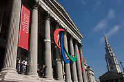 The Paralympic logo hangs between the pillars of the National (Art) Gallery on the north side of Trafalgar Square.