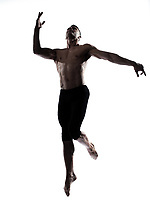 caucasian man gymnastic leap  isolated studio on white background