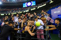 September 26, 2018 - Dominika Cibulkova of Slovakia celebrates winning her third-round match at the 2018 Dongfeng Motor Wuhan Open WTA Premier 5 tennis tournament (Credit Image: © AFP7 via ZUMA Wire)