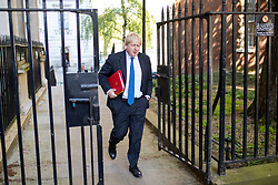 © Licensed to London News Pictures. 01/05/2018. London, UK. Foreign and Commonwealth Secretary Boris Johnson arriving in Downing Street to attend a Cabinet meeting this morning. Cabinet positions have recently shuffled around, following Amber Rudd's resignation as Home Secretary, following the Windrush scandal. Photo credit : Tom Nicholson/LNP