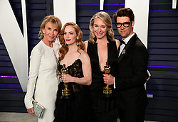 Trudie Styler (left to right), Jaime Ray Newman, Celine Rattry and Guy Nattiv with their Oscars for Best Live Action Short Film attending the Vanity Fair Oscar Party held at the Wallis Annenberg Center for the Performing Arts in Beverly Hills, Los Angeles, California, USA.