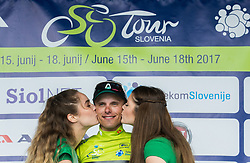 Overall classification winner Rafal Majka (POL) of Bora - Hansgrohe celebrates in green jersey at trophy ceremony after the Stage 3 of 24th Tour of Slovenia 2017 / Tour de Slovenie from Celje to Rogla (167,7 km) cycling race on June 16, 2017 in Slovenia. Photo by Vid Ponikvar / Sportida