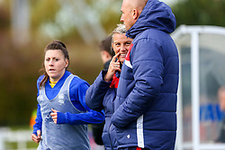 Tanya Oxtoby manager of Bristol City Women talks with Neil Moore - Mandatory by-line: Ryan Hiscott/JMP - 14/10/2018 - FOOTBALL - Stoke Gifford Stadium - Bristol, England - Bristol City Women v Birmingham City Women - FA Women's Super League 1
