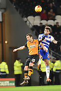 Hull City midfielder Shaun Maloney and Daniel Williams Reading FC   during the Sky Bet Championship match between Hull City and Reading at the KC Stadium, Kingston upon Hull, England on 16 December 2015. Photo by Ian Lyall.