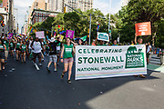 New York, NY - 25 June 2017. New York City Heritage of Pride March filled Fifth Avenue for hours with groups from the LGBT community and it's supporters. Marchers from the National Parks Conservation Association, which supports National Parks, with a banner celebrating the Stonewall National Monument.