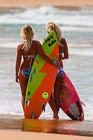 Female surfers, Manly Beach, Sydney, New South Wales, Australia