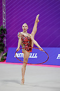 Moustafaeva Kseniya of France competes during the Rhythmic Gymnastics Individual hoop qulification of the World Cup at Vitrifrigo Arena  on May 28, 2021,in Pesaro Italy. She is a French individual rhythmic gymnast of Belarusian origin born in Minsk in 1994.