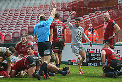Juan de Jongh celebrates a try by Alfie Barbeary of Wasps  - Mandatory by-line: Nick Browning/JMP - 28/11/2020 - RUGBY - Kingsholm - Gloucester, England - Gloucester Rugby v Wasps - Gallagher Premiership Rugby
