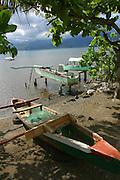 Outrigger fishing canoes, Teahupoo, Island of Tahiti, French Polynesia<br />