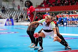 03-12-2019 JAP: Slovenia - Angola, Kumamoto<br /> Third match 24th IHF Women's Handball World Championship, Slovenia loss the third match against Angola with 24 - 33. / Aneja Beganovic #41 of Slovenia, Ruth Joao #4 of Angola