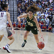 Laura Ferreira, (right), USF, defended by Kia Nurse, UConn, during the UConn Huskies Vs USF Bulls 2016 American Athletic Conference Championships Final. Mohegan Sun Arena, Uncasville, Connecticut, USA. 7th March 2016. Photo Tim Clayton