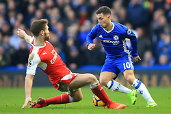 4 February 2017 - Premier League - Chelsea v Arsenal - Eden Hazard of Chelsea turns Shkodran Mustafi of Arsenal - Photo: Marc Atkins / Offside.